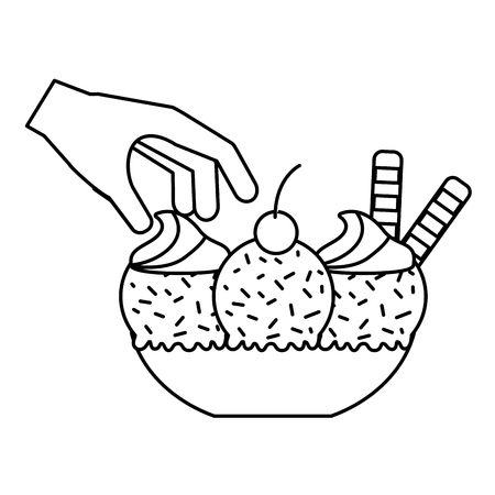 hand with ice cream on bowl vector illustration Ilustrace