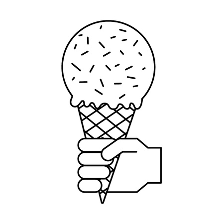 hand with ice cream in waffle cone vector illustration