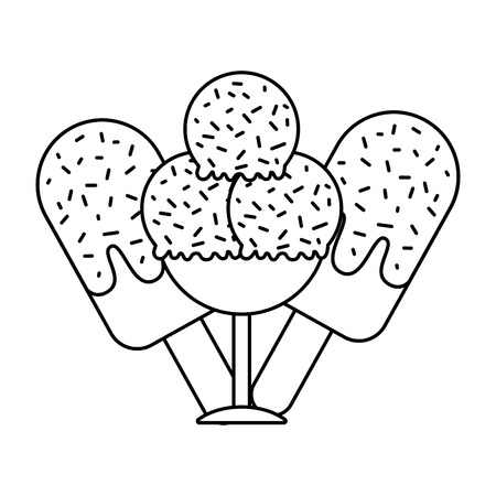 ice cream scoops popsicles on white background vector illustration Ilustração