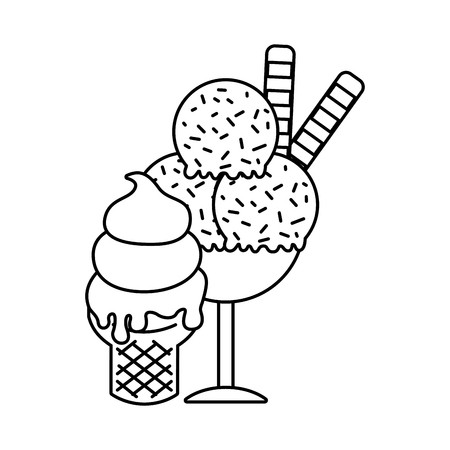 ice cream cone and scoops glass cup vector illustration