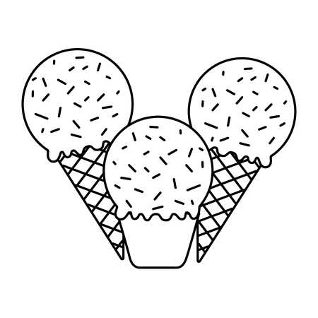 ice cream cones on white background vector illustration