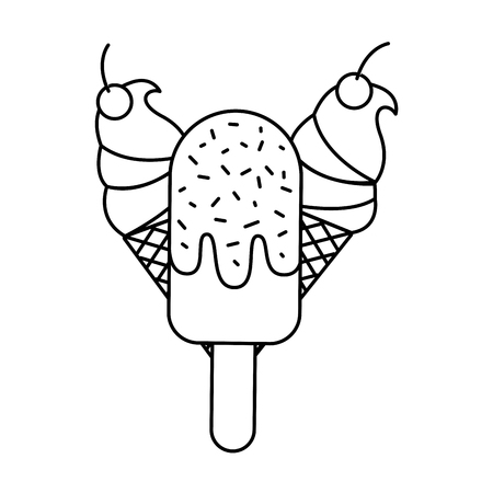 ice cream cone on white background vector illustration