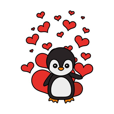 cute penguin hearts valentines day vector illustration vector illustration