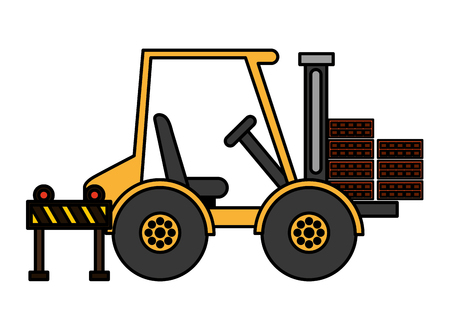 forklift bricks and barrier construction equipment design vector illustration vector illustration Çizim