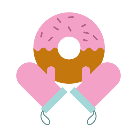 gloves donut bread bakery kitchen vector illustration vector illustration