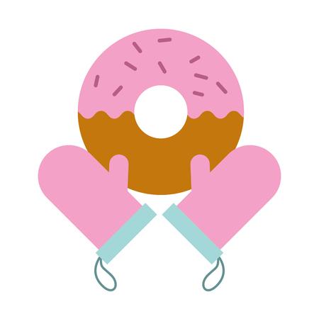 gloves donut bread bakery kitchen vector illustration vector illustration