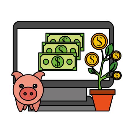 laptop piggy bank plant coins money business vector illustration vector illustration