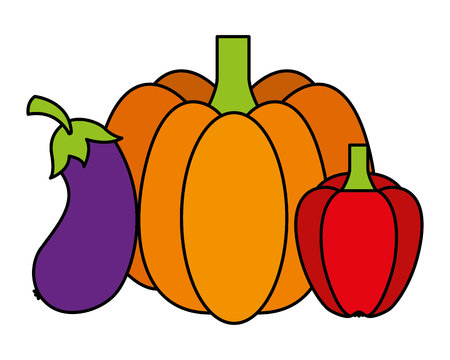 pumpkin eggplant and pepper vegetables food health vector illustration vector illustration Ilustração
