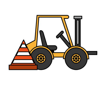 forklift machine and cone construction equipment design vector illustration vector illustration