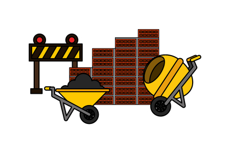 wheelbarrow mixer barrier and wall brick construction equipment vector illustration vector illustration