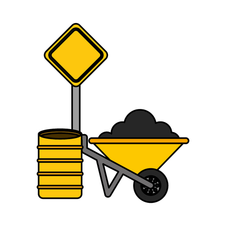 wheelbarrow barrel and sign construction equipment design vector illustration vector illustration Çizim
