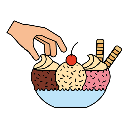 hand with ice cream on bowl vector illustration vector illustration  イラスト・ベクター素材