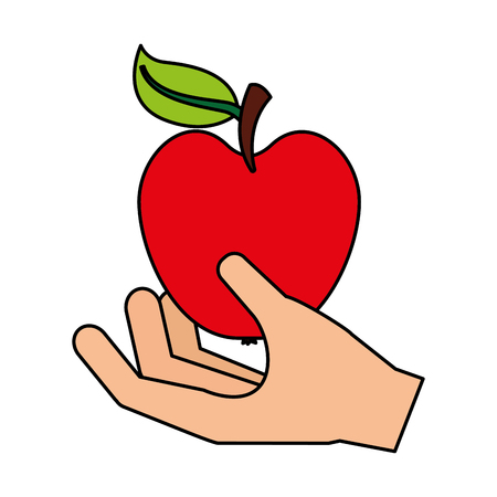 hand with fresh apple fruit vector illustration vector illustration