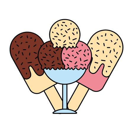 ice cream scoops on white background vector illustration vector illustration