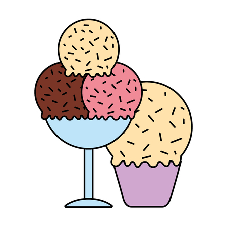 ice cream cone scoops in glass cup vector illustration vector illustration