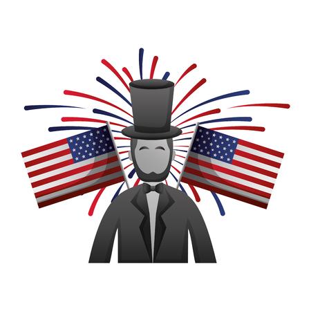エイブラハムリンカーンアメリカ大統領日ベクトルイラスト