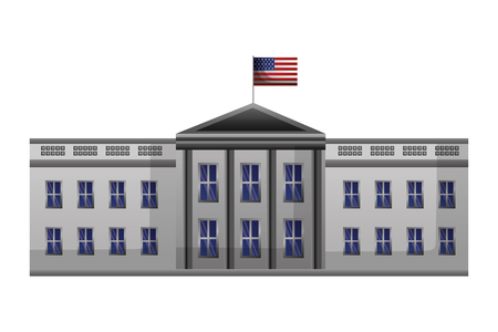 La casa blanca de Washington bandera americana feliz día de los presidentes ilustración vectorial
