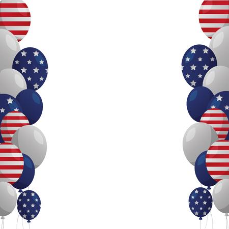 flying balloon celebration happy presidents day vector illustration Reklamní fotografie - 126014654