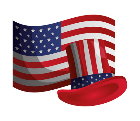 american flag hat happy presidents day vector illustration