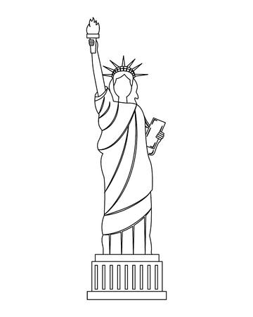 estatua de la libertad, ciudad de nueva york, histórico, vector, ilustración