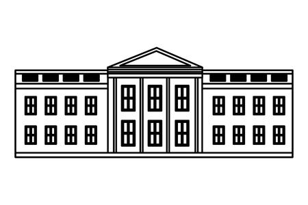 Maison blanche Washington drapeau américain heureux présidents day vector illustration