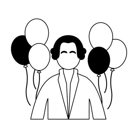 george washington character presidents day vector illustration