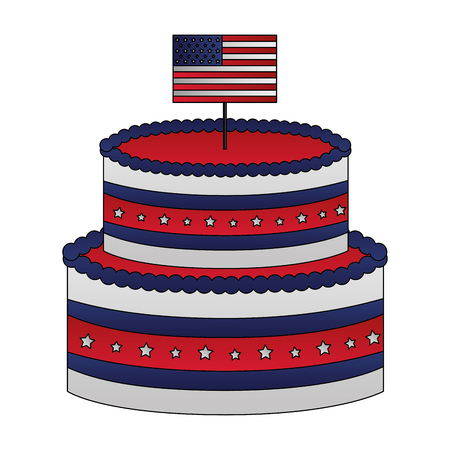 cake american flag happy presidents day vector illustration