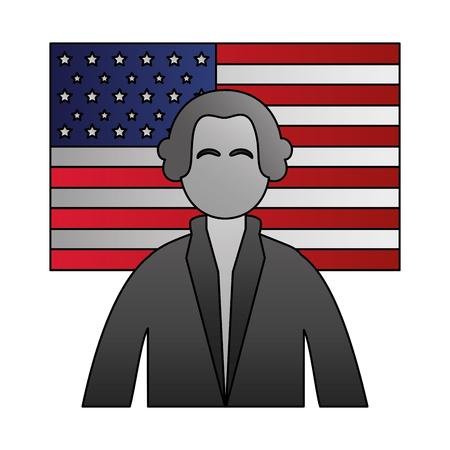 Ilustración de vector de día de los presidentes de carácter de George Washington