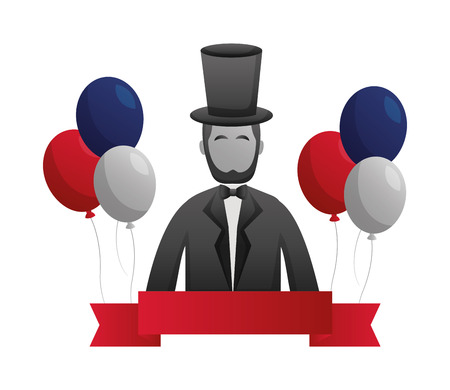 abraham lincoln american presidents day vector illustration