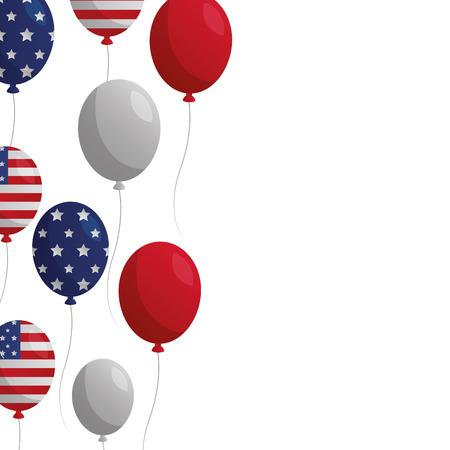 flying balloon celebration happy presidents day vector illustration Ilustração