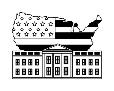 white house washington american map flag happy presidents day vector illustration