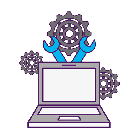 laptop support gears tools business vector illustration