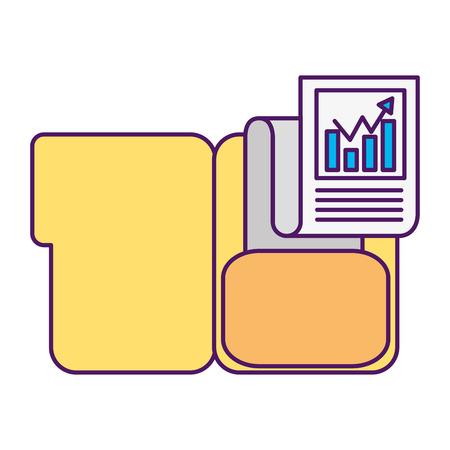 folder document chart business success vector illustration