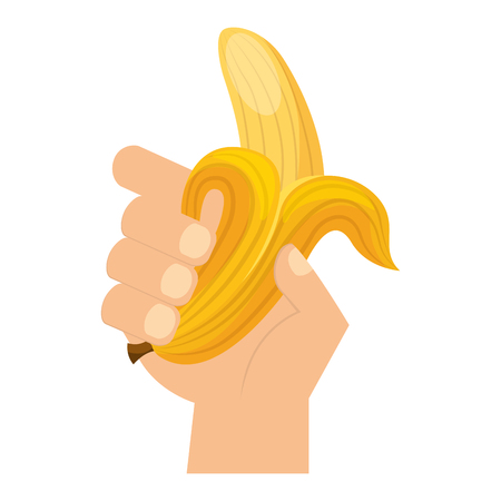 hand holding banana fresh food vector illustration