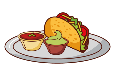 taco guacamole and chili pepper mexican food traditional vector illustration
