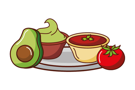 avocado guacamole tomato mexican food traditional vector illustration  イラスト・ベクター素材