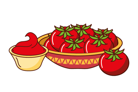 tomatoes and sauce mexican food traditional vector illustration