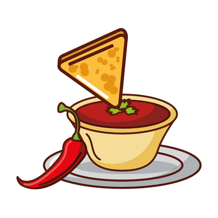 nacho pepper sauce mexican food traditional vector illustration