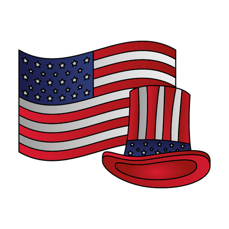 american flag hat happy presidents day vector illustration vector illustration