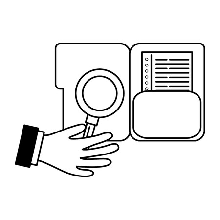 hand with magnifying glass folder file business vector illustration