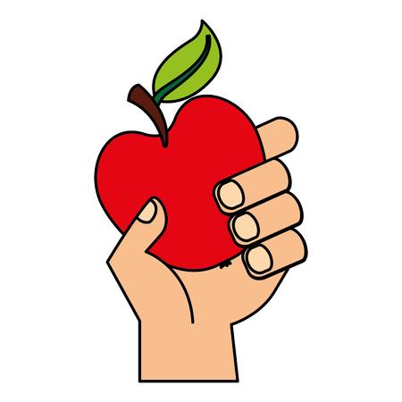hand holding apple fresh food vector illustration