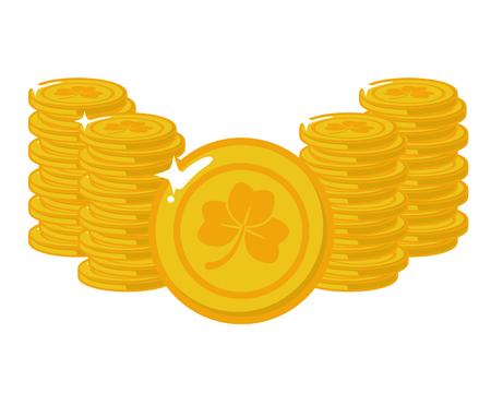 golden coins clover happy st patricks day vector illustration Ilustrace