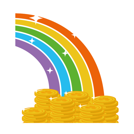 golden coins rainbow fantasy happy st patricks day vector illustration Ilustracja