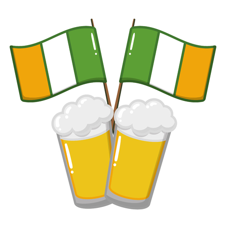 two beer glasses flags on white background vector illustration Vettoriali