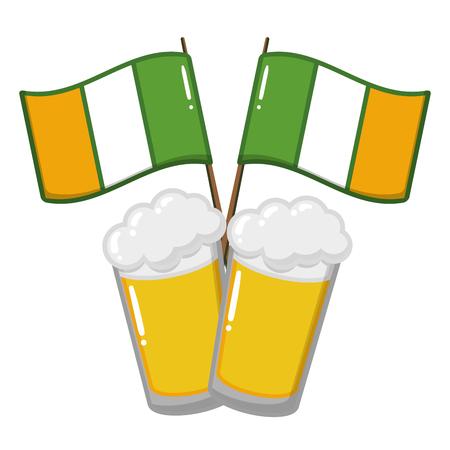 zwei Biergläser Flaggen auf weißer Hintergrundvektorillustration