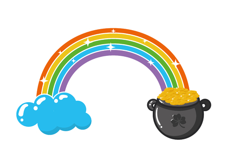 rainbow cauldron coins happy st patricks day vector illustration