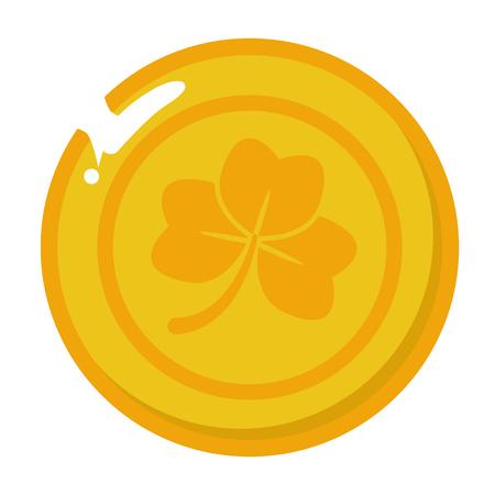 golden coin clover happy st patricks day vector illustration Archivio Fotografico - 126014796