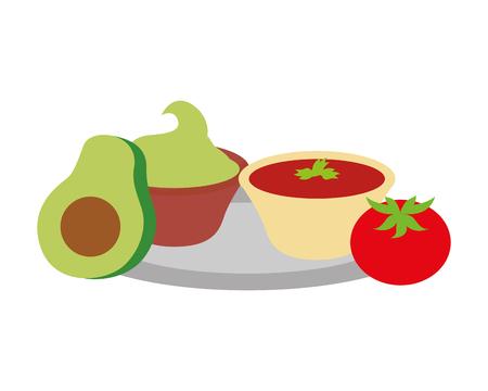 avocado guacamole tomato mexican food traditional vector illustration Çizim