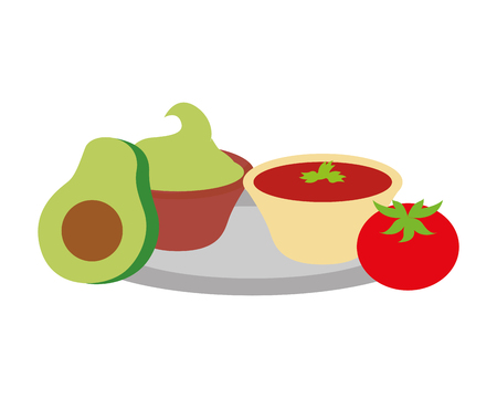 avocado guacamole tomato mexican food traditional vector illustration Illustration