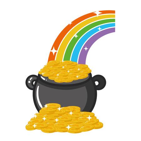 cauldron coins rainbow happy st patricks day vector illustration